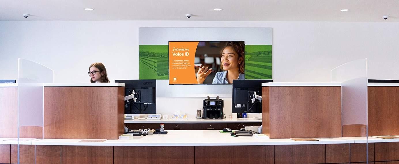 digital display behind teller line