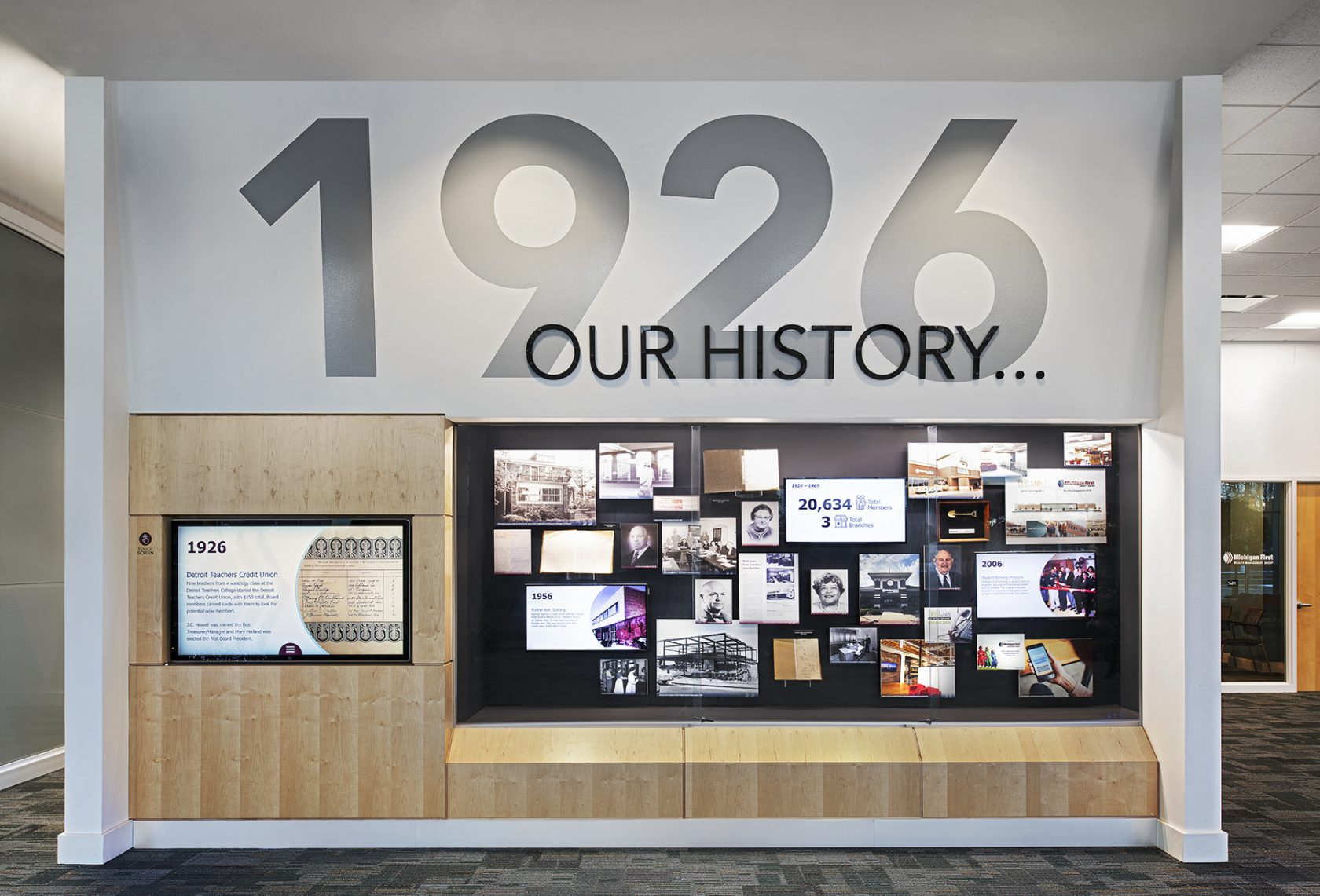 Michigan First Credit Union history wall
