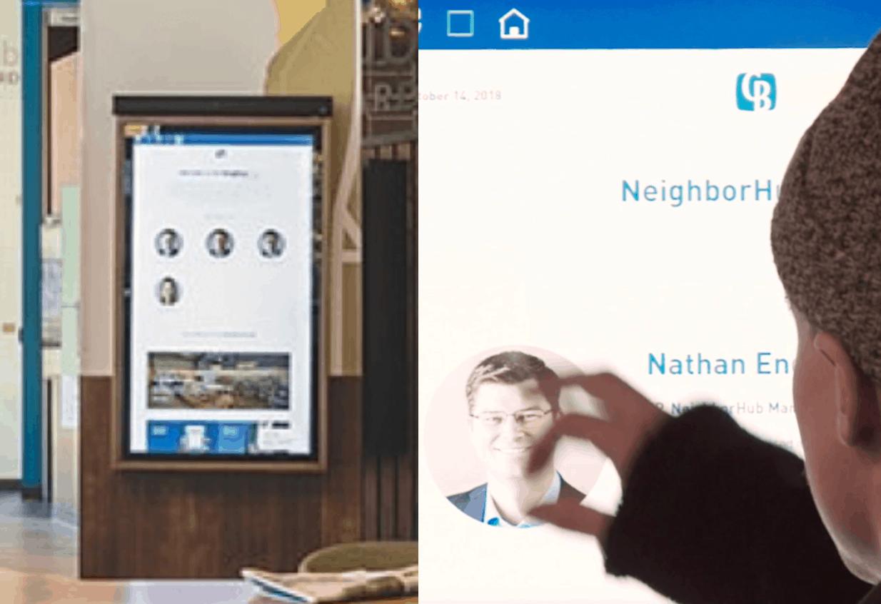 Columbia Bank neighbor hub touch screen.