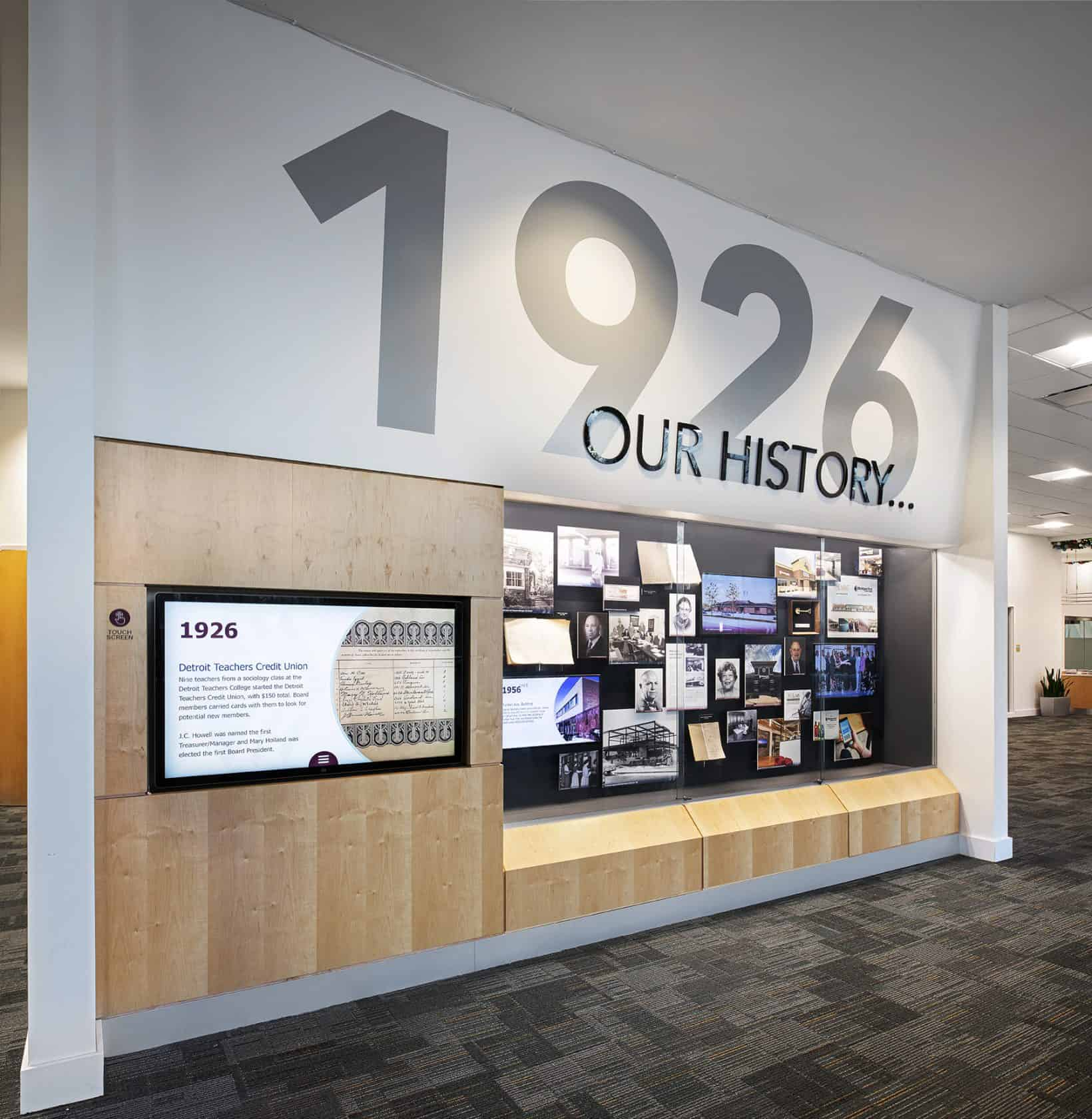 Michigan First Credit Union history timeline touch screen.