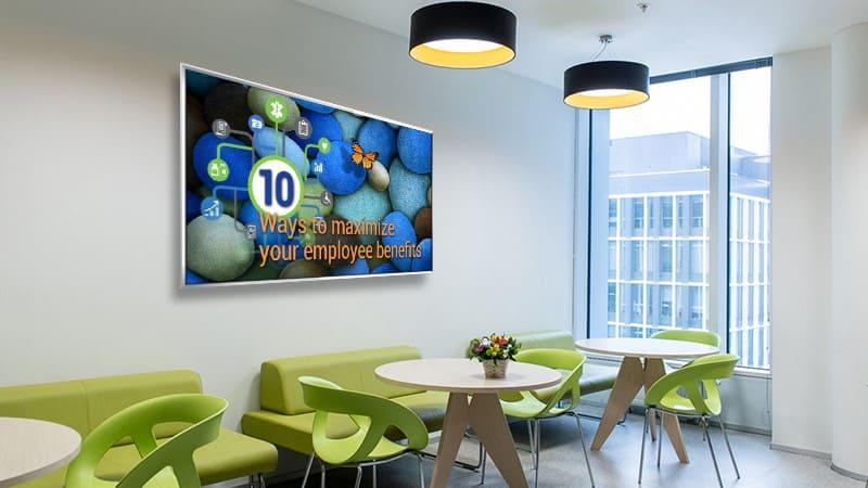 employee breakroom digital sign with employee benefits reminder